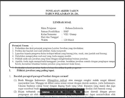 PAT Bahasa Indonesia Kelas 8 Kurikulum 2013