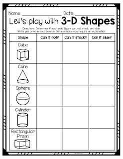 Let's play with 3D shapes worksheet