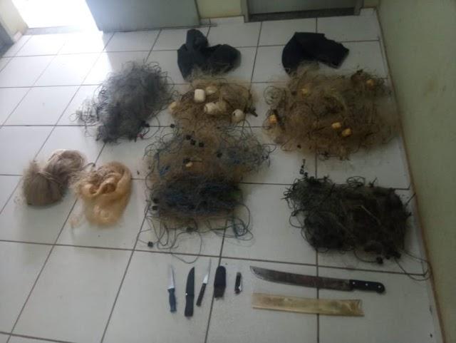 """Aroazes: Durante """"Operação Piracema"""", PM flagra 5 pessoas praticando pesca predatória, apreende material e peixes abatidos."""