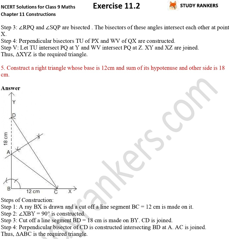 NCERT Solutions for Class 9 Maths Chapter 11 Constructions Exercise 11.2 Part 3