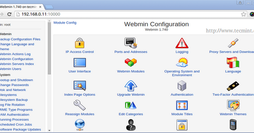 Control panel hosting webmin