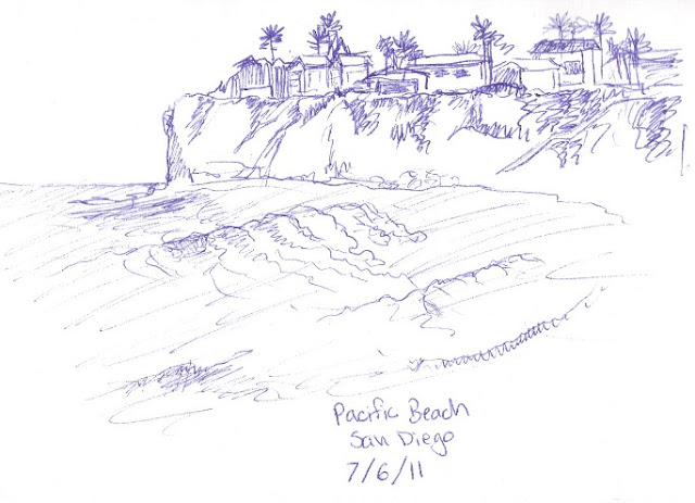 beach pen sketch