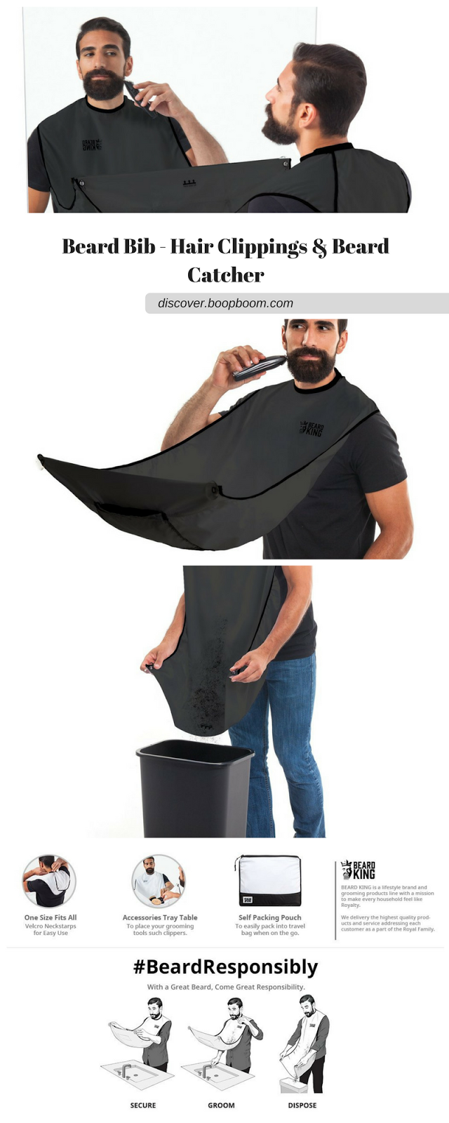 Beard Bib - Hair Clippings & Beard Catcher. This men's grooming tool reduces the manual cleanup and allows for an easy disposal. (Cool Gadgets And Crazy Inventions