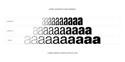Helvetica Now sample showing weight, width, and optical size variation.