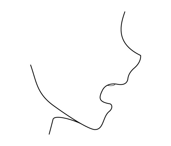 Tampilan sisi mulut anime terbuka lebar