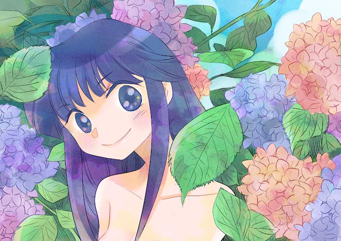 アジサイの花の女の子。