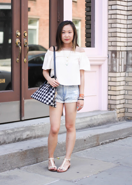 Off-the-Shoulder Top and Denim Shorts Casual Outfit