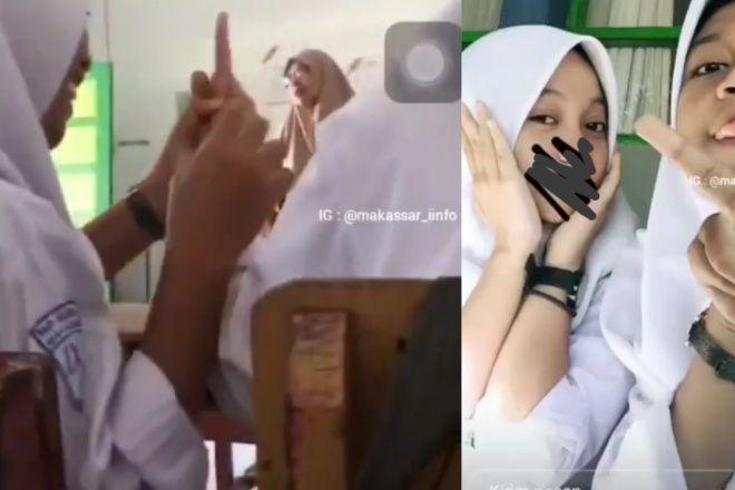 Miris! Siswi SMP di Makassar Acungkan Jari Tengah ke Guru di Dalam Kelas, Videonya Viral