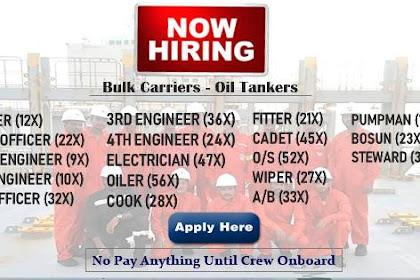 Oiler, AB, Cook. Fitter. Cadet, O/S, Wiper, Bosun, Pumpman, Messman, 4/E, 3/E, 3/O, 2/O, C/O, C/E, Master