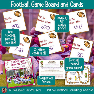 https://www.teacherspayteachers.com/Product/Counting-to-1000-Football-Freebie-199093?utm_source=Elementary%20Matters%20blog&utm_campaign=Football%20Game%20Board%20Counting%20to%201000%20Freebie