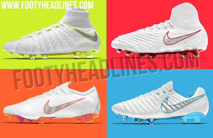 eaea77ecd8a Each of the four boot silos of the Nike 2018 World Cup soccer boots  collection combines the main colors white and silver (Metallic Cool Grey)  with different ...