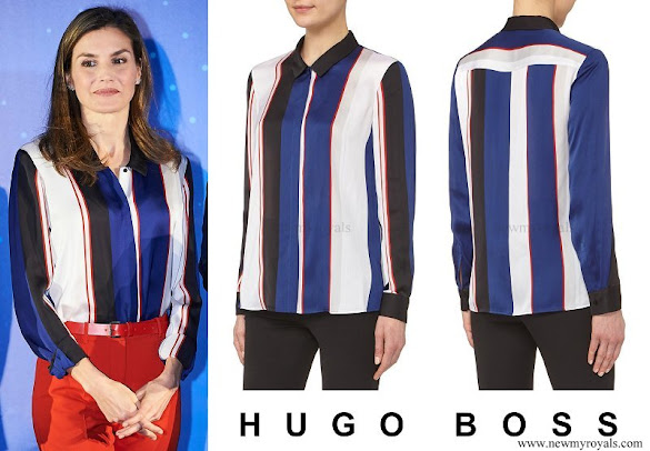 Queen Letizia wore Hugo Boss Binesa Shirt