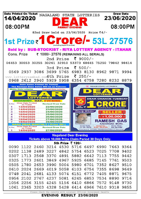 Nagaland State Lottery Sambad 14-04-2020 Today Result 8 PM