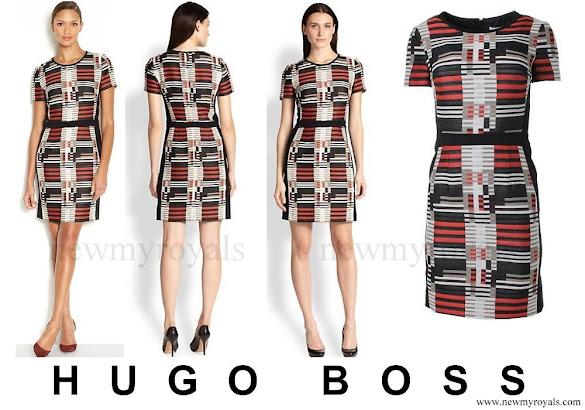 Queen Letizia wore HUGO BOSS Hesandra Pixel Tweed Skirt
