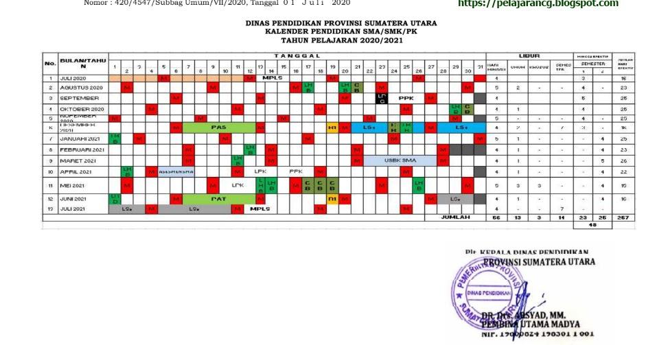 KALENDER PENDIDIKAN TAHUN AJARAN 2020/2021 PROVINSI SUMUT ...