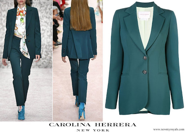 Queen Letizia wore Carolina Herrera Green Two button Wool blend Blazer