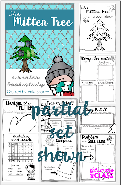 The Mitten Tree book study companion activities. Perfect for a winter theme in the classroom! Packed with fun ideas and guided reading literacy activities. Common Core aligned. K-2. #themittentree #mittens #mittentree #winter #bookstudy #bookstudies #literacy #guidedreading #1stgrade #2ndgrade #kindergarten #bookcompanion #bookcompanions #1stgradereading #2ndgradereading #kindergartenreading #picturebookactivities #winterbooks