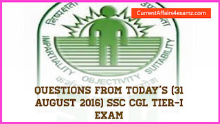 SSC CGL Questions 31 August 2016