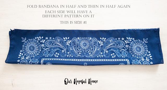 folded blue white paisley bandana