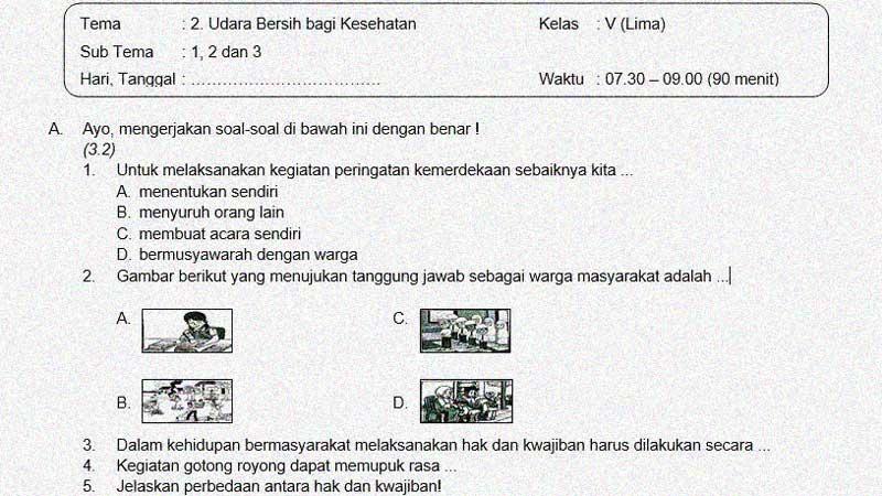 Soal dan Jawaban Penilaian Akhir Semester 1 Kelas 5 Tema 2