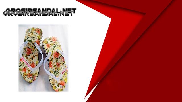Sandal Wedges AMX Spon Tebal Motif-Bunga TG Termurah