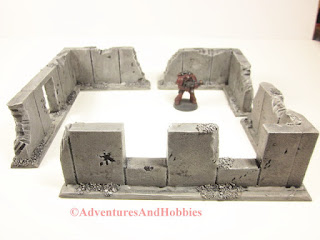 Example 1 four walled building using four individual battle damaged wall sections for 25 to 28mm scale war games - UniversalTerrain.com