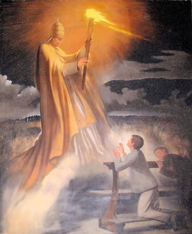O Beato Pio IX leva a tocha da fé à Inglaterra numa visão de São Domingos Sávio. Maria Ausiliatrice, Turim.