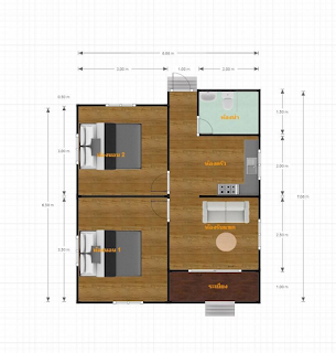 แบบบ้านชั้นเดียว 2 ห้อง นอน 1 ห้องน้ำ