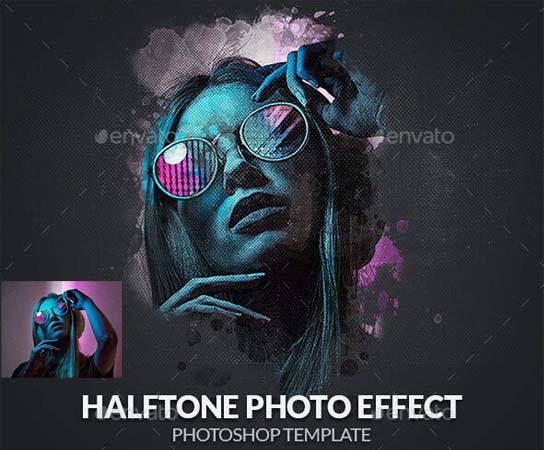Halftone Photo Effect PSD Template