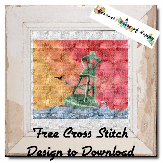 Red Sky at Night Free Nautical Sunset Full Coverage Cross Stitch Pattern to Download
