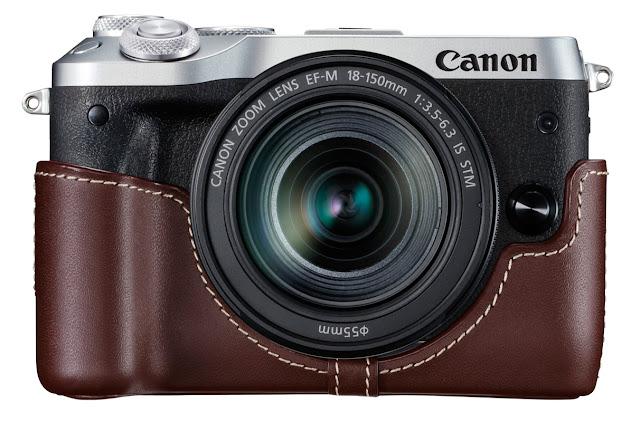 Canon EOS M6 Silver Camera in Brown Case