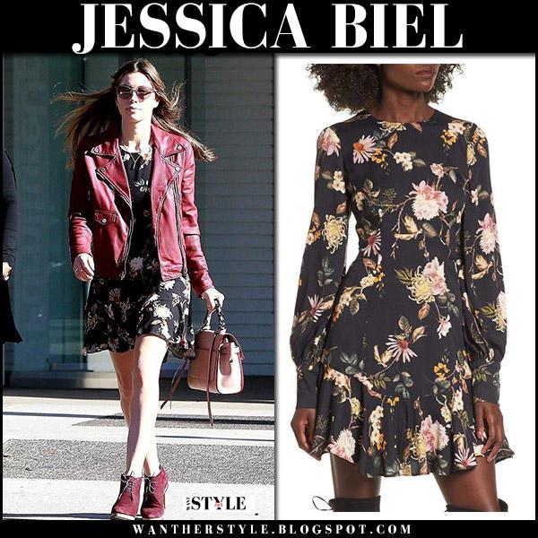 Jessica Biel in red leather jacket and black floral print mini dress afrm savanna street fashion december 11