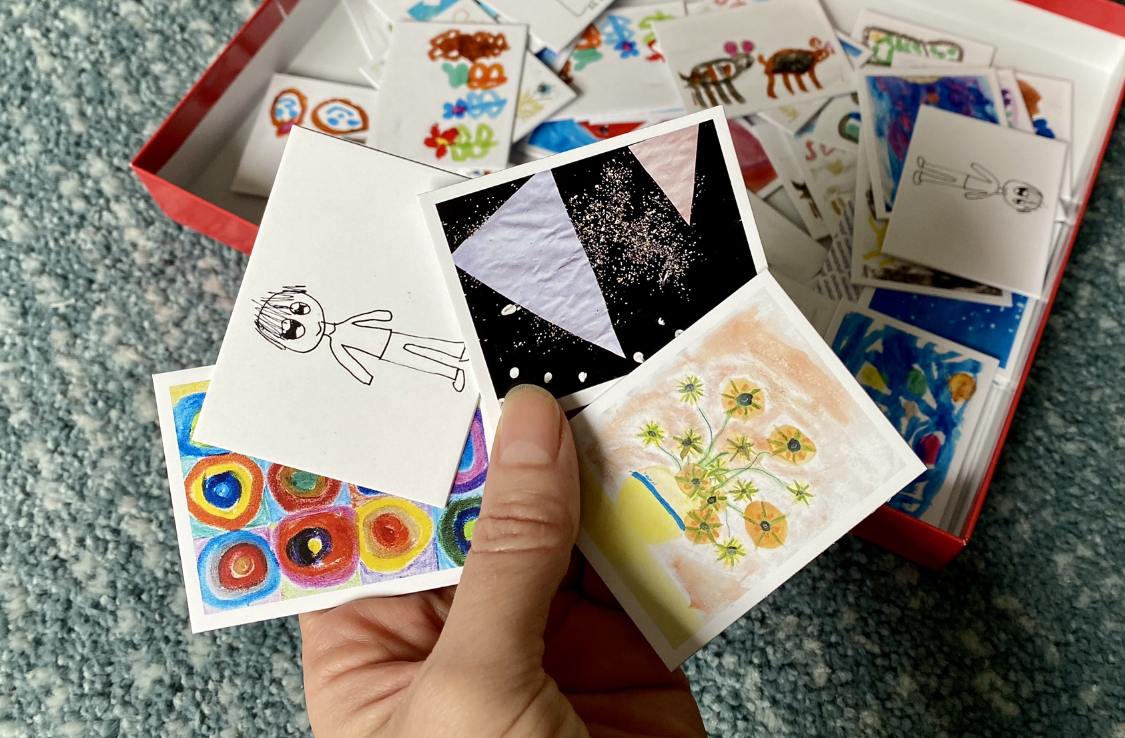 A memory card game using photographs of children's artwork
