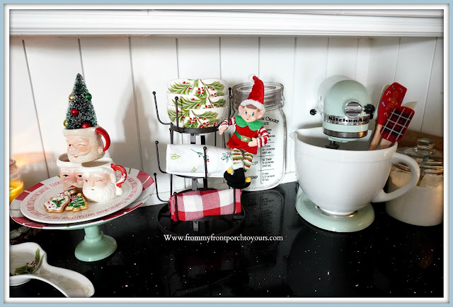 Cottage -Farmhouse- Christmas -Kitchen -Tour-Christmas-Elf-Vignette-Vintage-Inspired-From My Front Porch To Yours