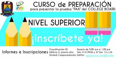 Abre Inscripciones UAdeC para el Curso del Examen de Admisión Collage Board 2016