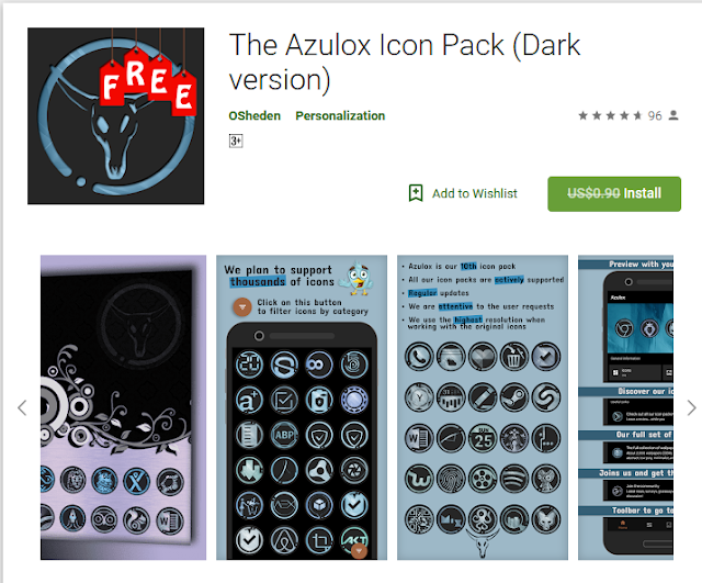The Azulox Icon Pack(Dark version)[Normally $0.90]