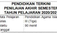 Soal UAS/PAS PAI Kelas 3 SD/MI Semester 2 dan Kunci Jawaban Kurikulum 2013