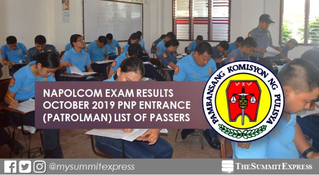 LIST OF PASSERS: PNP Entrance October 2019 NAPOLCOM exam result