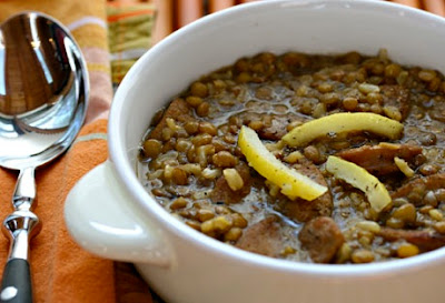 Slow Cooker Lentil and Brown Rice Soup with Preserved Lemons and Garlic Sausage from The Perfect Pantry [found on SlowCookerFromScratch.com]