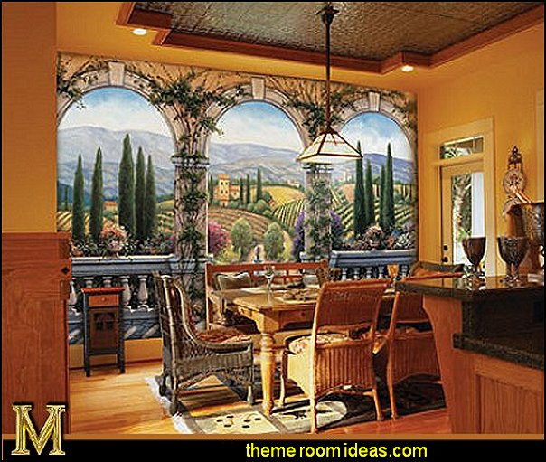 Tuscan Villa wall mural  Tuscany Vineyard Style decorating  tuscan dining room tuscan kitchen decor tuscany