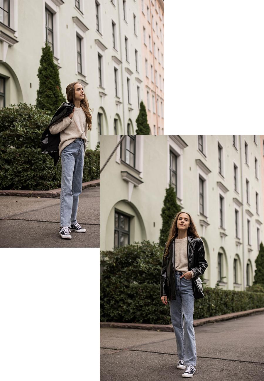 Inspiraatiota syyspukeutumiseen: farkut ja tekonahkableiseri // Autumn outfit inspiration: jeans and faux leather blazer
