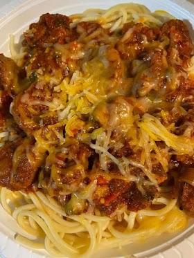 Spaghetti with Italian sausage homemade sauce