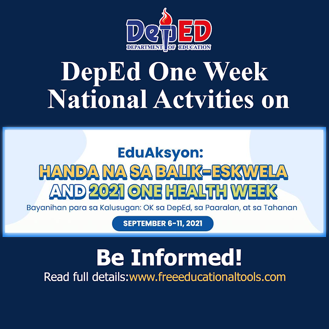 DepEd National 5-Day Activities with 3-Day Webinars | EduAksyon Ready for Back to School and 2021 One Health Week