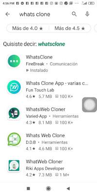 Busca la aplicación WhatsClone de Google Play en el segundo dispositivo que deseas tener el número de WhatsApp