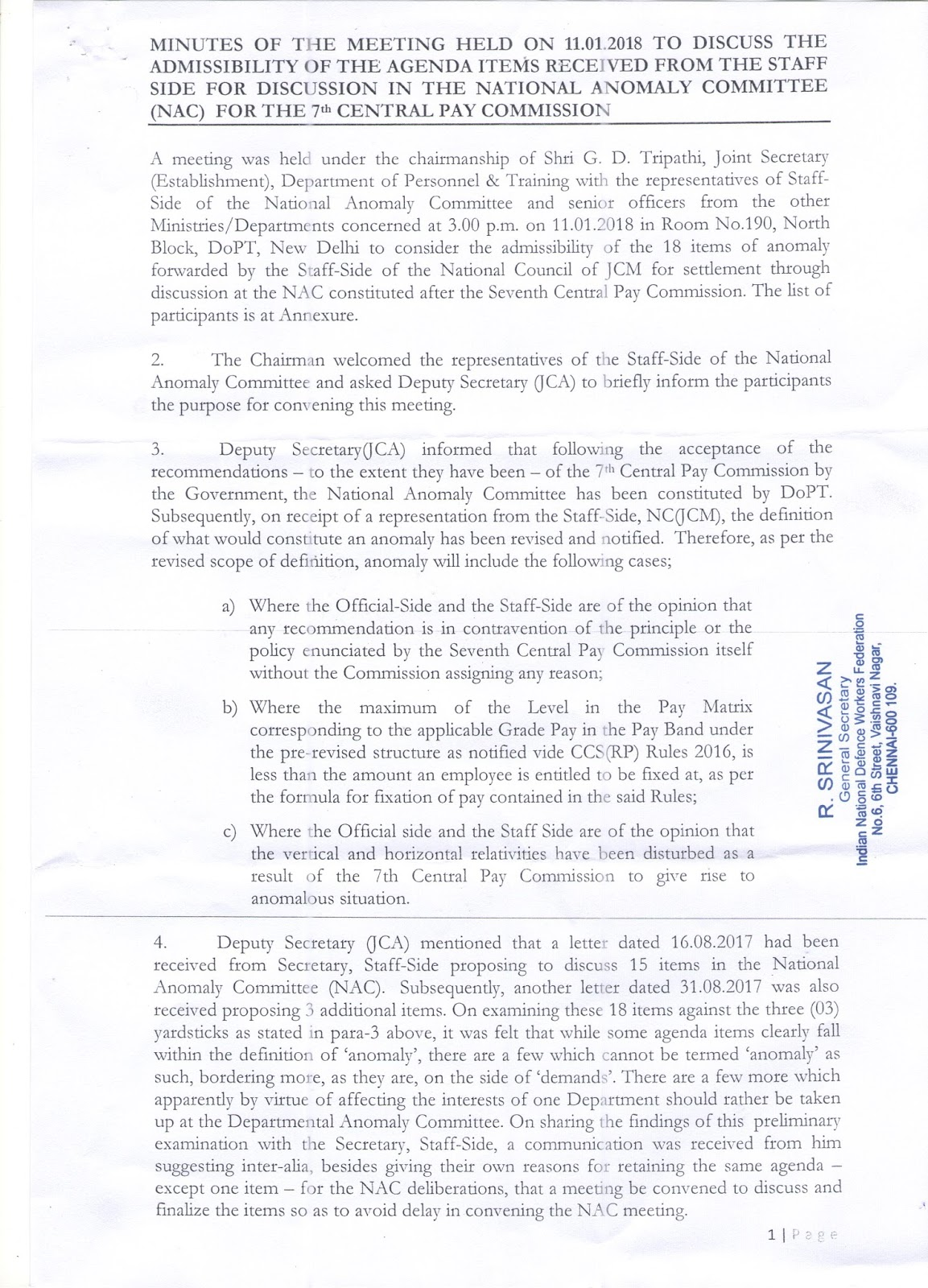 Minutes Of National Anomaly Committee Meeting