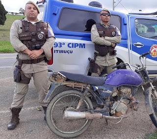 Itiruçu: Em menos de 24 horas a Policia Militar recuperar moto furtada
