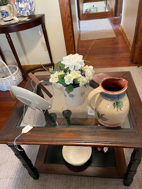 display of antiques in upstairs rooms with craftsman oak trim Grafton Illinois coffee antiques shop Lightkeepers Coffee 101 E Main St Sears Vallonia