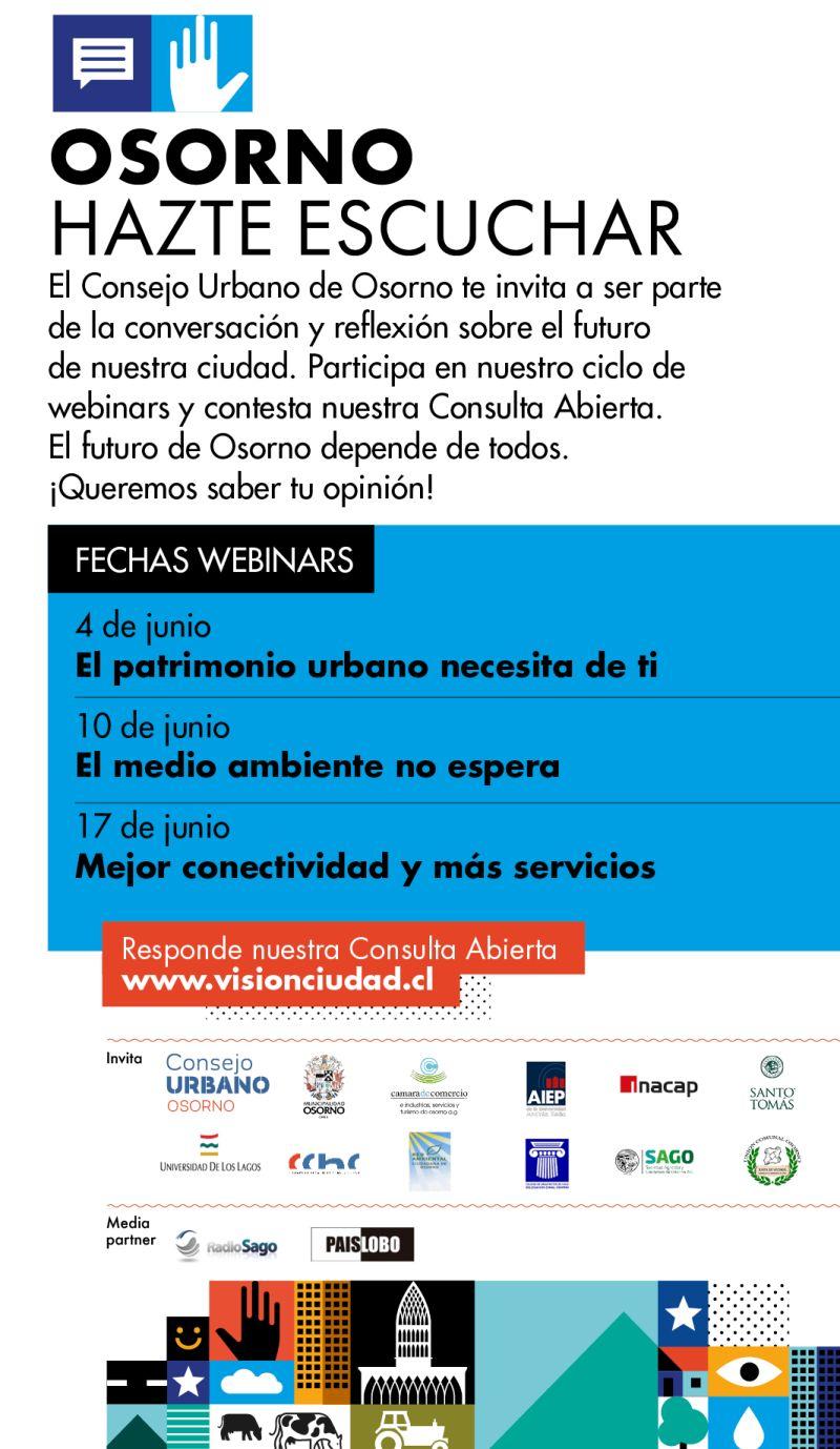 Osorno: invitación a webinars sobre el futuro de la ciudad