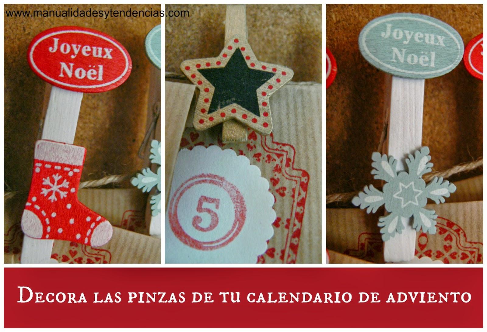 Pinzas decoradas con motivos navideños