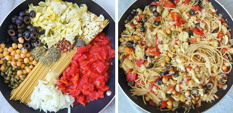 16 Vegan One-Pot Recipes If Your Are Considering Cutting Animals Out Of Your Diet - Spaghetti Puttanesca With Olives & Artichokes